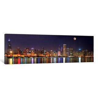 iCanvas 'Chicago Cubs Pride Lighting Across Downtown Skyline II, Chicago, Illinois, USA' by Panoramic Images Canvas Print