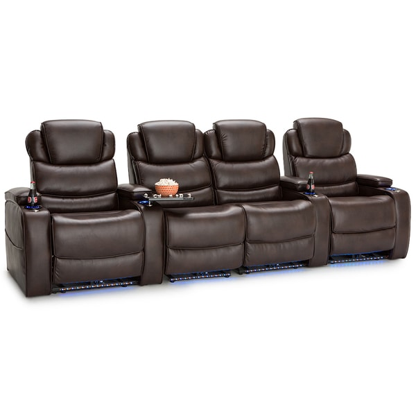Barcalounger Columbia Leather Gel Home Theater Seating Power Recline - Row of 4 w/ Loveseat, Brown 25689668