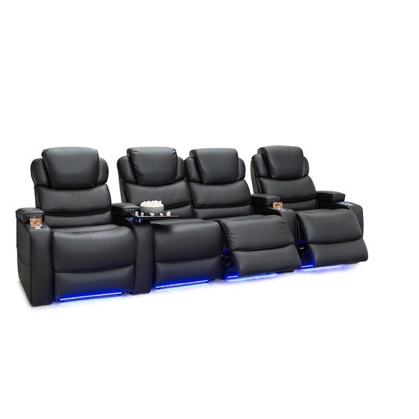 Barcalounger Columbia Leather Gel Home Theater Seating Power Recline - Row of 4 w/ Loveseat, Black 25689691