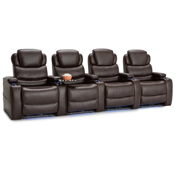 Barcalounger Columbia Leather Gel Home Theater Seating Power Recline - Row of 4, Brown 25689705
