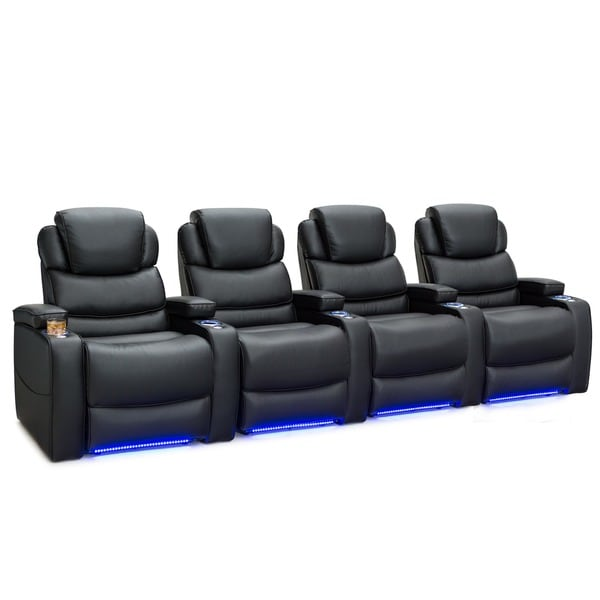 Barcalounger Columbia Leather Gel Home Theater Seating Power Recline - Row of 4, Black 25689737