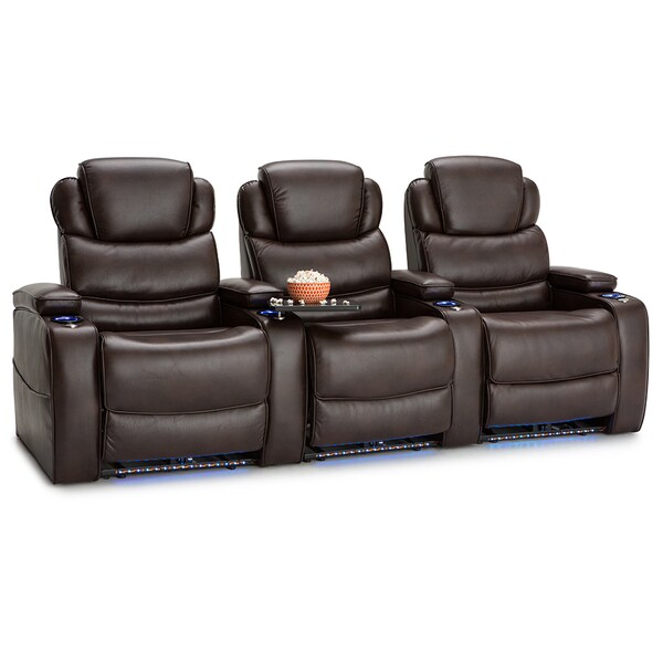 Barcalounger Columbia Leather Gel Home Theater Seating Power Recline - Row of 3, Brown 25689757