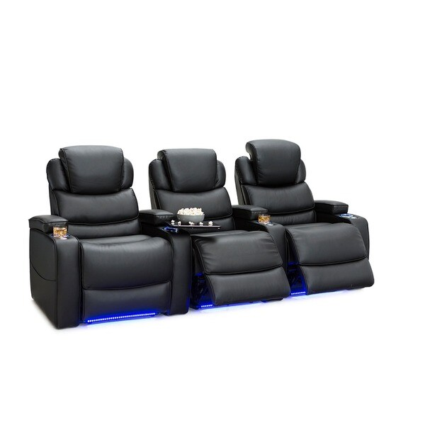 Barcalounger Columbia Leather Gel Home Theater Seating Power Recline - Row of 3, Black 25689773