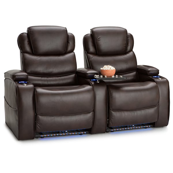 Barcalounger Columbia Leather Gel Home Theater Seating Power Recline - Row of 2, Brown 25689797