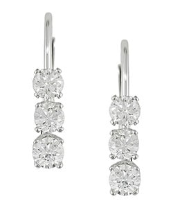 Miadora 14k Gold 1/2ct TDW Diamond Three-Stone Leverback Earrings (I-J/ I2-I3)