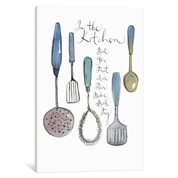 iCanvas 'Kitchen Utensils' by Lucile Prache Canvas Print