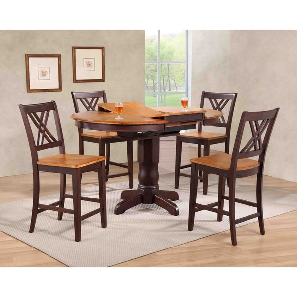 Iconic Furniture Company Whiskey/Mocha Double-X-back Counter-height Five-piece Dining Set 25693340