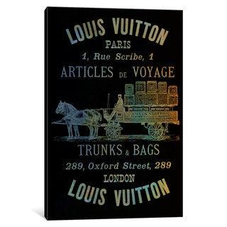 iCanvas 'Vintage Woodgrain Louis Vuitton Sign 4' by 5by5collective Canvas Print