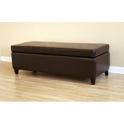 Contemporary Dark Brown Bi-Cast Leather Storage Bench