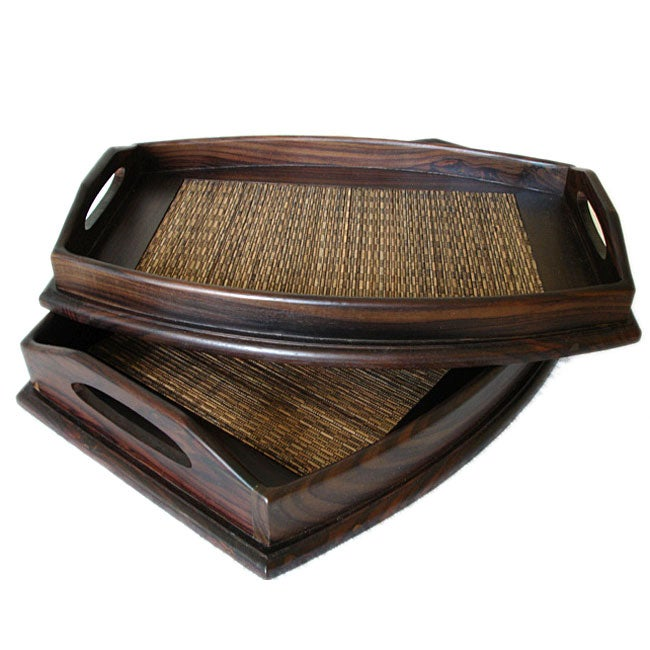 Set of 2 Wood Bamboo Serving Trays (Indonesia)