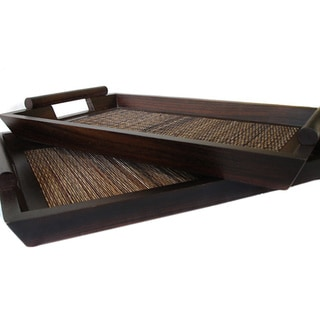 Set of 2 Mango Wood Serving Trays (Indonesia)