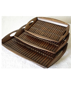 Set of 3 Bamboo Serving Trays (Indonesia)