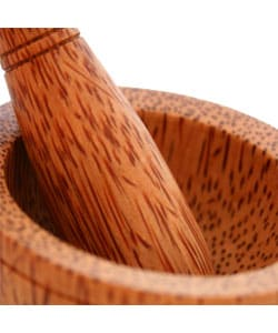 Hand-carved Wood Mortar and Pestle Set