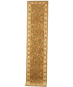 Handmade Isfahan Sage/ Ivory Wool and Silk Runner (2'3 x 10')