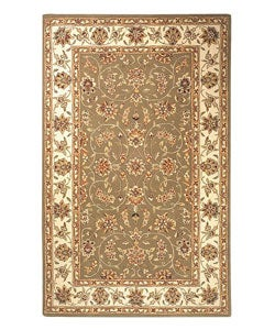 Handmade Isfahan Sage/ Ivory Wool and Silk Rug (5' x 8')