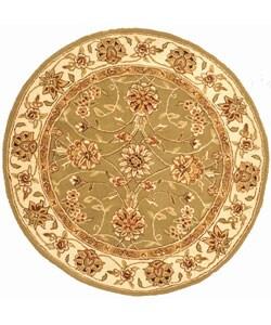 Handmade Isfahan Sage/ Ivory Wool and Silk Rug (6' Round)
