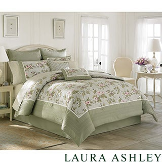 Laura Ashley 'Avery' Traditional Cotton 4-piece Comforter Set