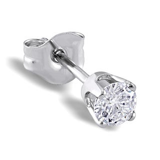 Miadora 14k White Gold 1/6ct TDW Diamond Single Stud Earring (H-I, I1)