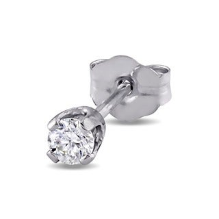 Miadora 14k White Gold Single 1/10ct Diamond Earrings