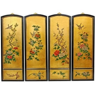 Golden Birds and Flowers Wall Plaques (China)
