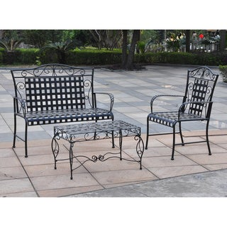 International Caravan Wrought Iron Settee Patio Set