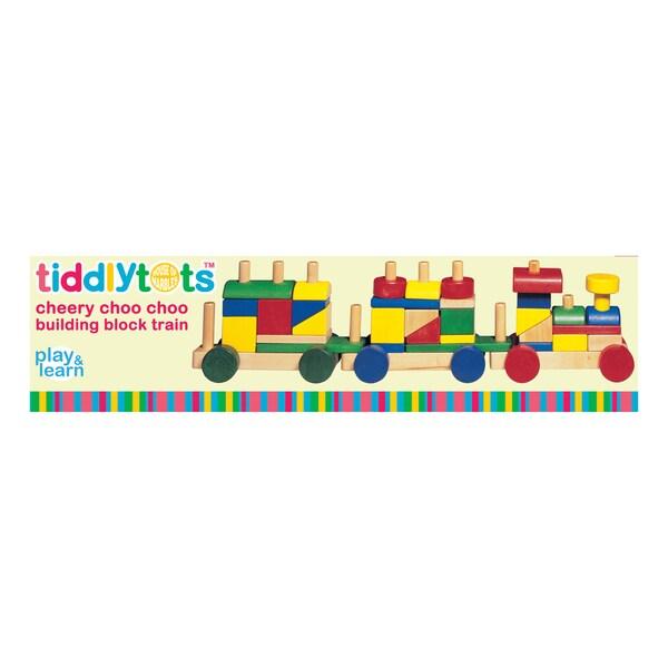 TiddlyTots Cheery Choo Choo Wooden Building Block Train 25897103