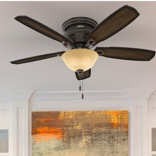 Hunter Fan Ambrose Collection Onyx Bengal 52-inch Low Profile Ceiling Fan with 5 Burnished Aged Maple Reversible Blades - Brown