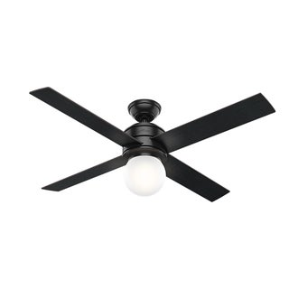 """Hunter 52"""" Hepburn Ceiling Fan with LED Light Kit and Wall Control - Matte Black"""