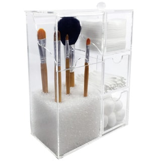 Acrylic Makeup Brush Holder & Cosmetic Organizer - Clear