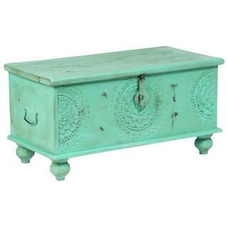 "Handmade Leela Distressed Mint Green Medallion Coffee Table Trunk - 18"" x 18"" x 35"" (India)"