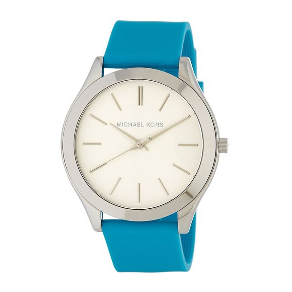 Michael Kors Women's MK2609 'Slim Runway' Blue Leather Watch 25934209