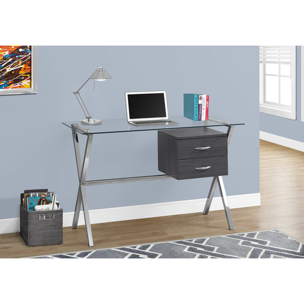 "COMPUTER DESK - 48""L / GREY/ CHROME / TEMPERED GLASS 25936527"