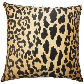 """Usoa Animal Print 24"""" x 24"""" Feather Throw Pillow Black"""