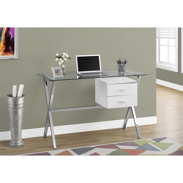 "COMPUTER DESK - 48""L / GLOSSY WHITE / TEMPERED GLASS 25942278"