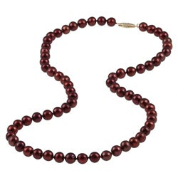 14k Gold Brown-Red Cultured FW Pearl Necklace (6-6.5 mm)