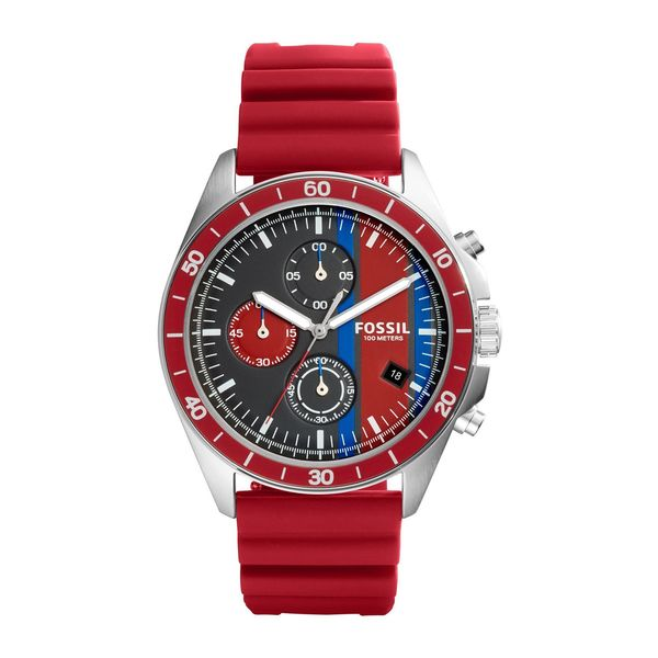 Fossil Men's CH3052 'Sport 54' Chronograph Red Silicone Watch 25959707