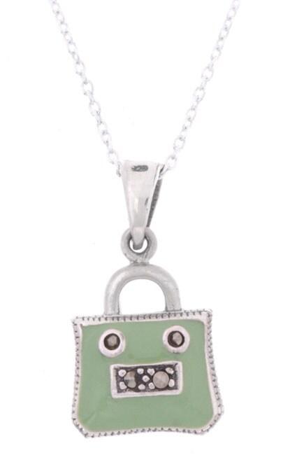 Sterling Silver Marcasite Green Handbag Pendant
