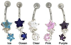 CGC Surgical Steel Double-star Barbell Belly Ring