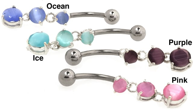 CGC Stainless Steel Triple Cat's Eye Barbell Belly Ring