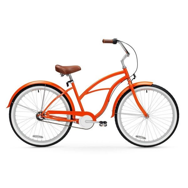 "26"" sixthreezero Dreamcycle Three Speed Beach Cruiser Women's Bicycle, Glossy Orange 25988161"