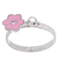 Sterling Silver Pink CZ Flower Charm Ring (Size 7)