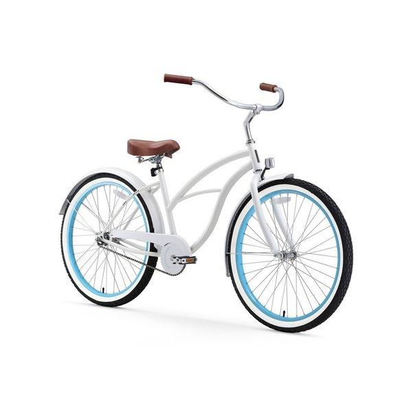 "26"" sixthreezero BE Single Speed Beach Cruiser Women's Bicycle, White with Blue Rims 25988461"