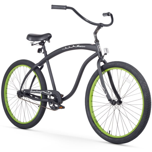 "26"" Firmstrong Bruiser Man Single Speed Beach Cruiser Men's Bicycle, Matte Black w/ Green Rims 25989524"