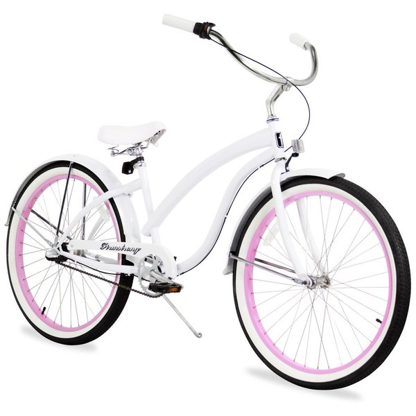 "26"" Firmstrong Bella Fashionista Three Speed Women's Beach Cruiser Bicycle, White with Pink Rims 25991055"