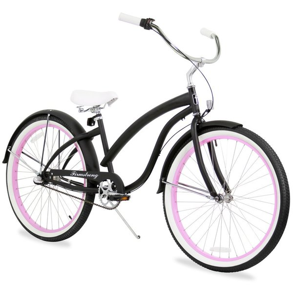 "26"" Firmstrong Bella Fashionista Three Speed Women's Beach Cruiser Bicycle, Matte Black with Pink Rims 25991093"