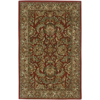Hand-tufted Elegance Burgundy Floral Border New Zealand Wool Rug