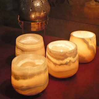 Set of 4 Polished Alabaster Candle Holders , Handmade in Egypt