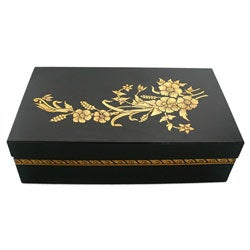 Black Lacquer and Gold Flowers Jewelry Box