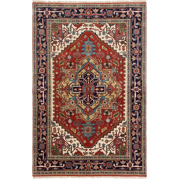 ecarpetgallery Hand Knotted Serapi Heritage Red  Wool Rug (5'10 x 8'10) 26123112