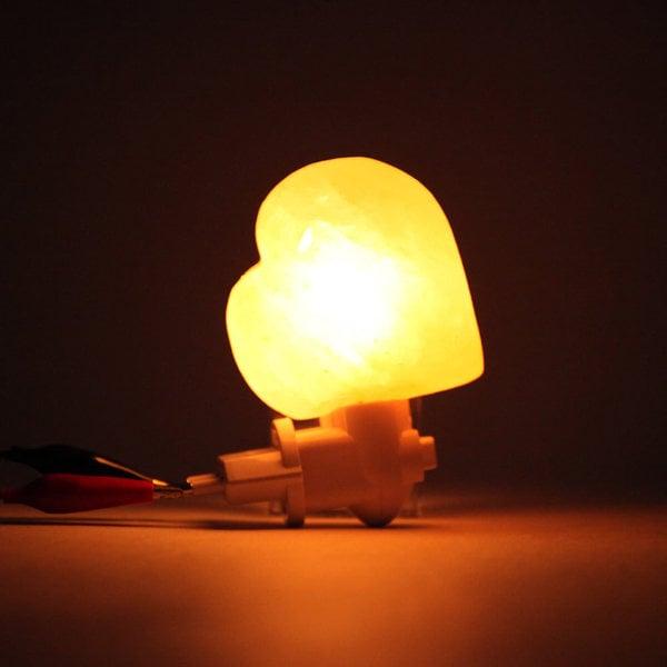 Exquisite Heart Natural Rock Salt Himalaya Salt Lamp Air Purifier with Wood Base Amber 26130843